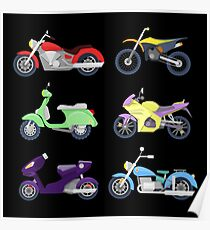 Motorcycles Icons Set with Retro, Sport Bike and Scooter.  Poster