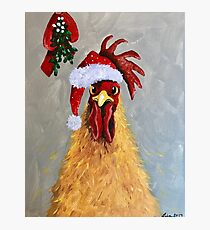 Merry Clucking Christmas Photographic Print