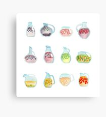 Colorful Fruit Drinks/cocktails in glass pitchers - watercolor illustation Canvas Print