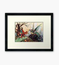 Fantasy Scene with Dragon and Adventurer Framed Print