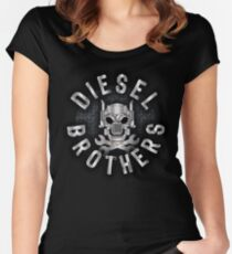Diesel Brothers Big Rig Truck Skull and Bones Women's Fitted Scoop T-Shirt