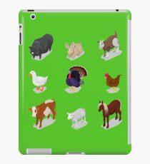 Isometric Farm Animals Set with Cow, Rabbit, Horse and Goose.  iPad Case/Skin