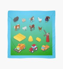 Isometric Farm Animals and Agricultural Transportation.  Scarf