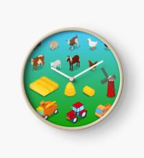 Isometric Farm Animals and Agricultural Transportation.  Clock