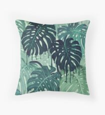 Monstera Melt (in Green) Throw Pillow