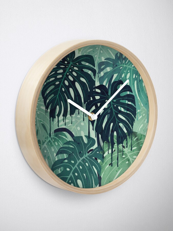 Alternate view of Monstera Melt (in Green) Clock
