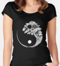 Yin Yang Bonsai Tree Japanese Buddhist Zen Women's Fitted Scoop T-Shirt