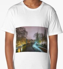 Old timber-framing houses in Petite France quarter, Strasbourg. Snow-covered roofs and refctions in the river water. Night scene. Christmas time. Long T-Shirt