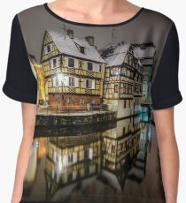 Old timber-framing houses in Petite France quarter, Strasbourg. Snow-covered roofs and refctions in the river water. Night scene. Christmas time. Chiffon Top