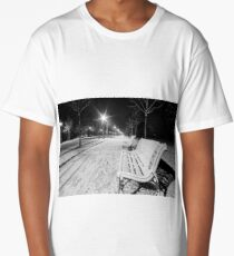 Night in the park after snowfall. White road, benches, street lamps highlighting alley. Strasbourg, France Long T-Shirt