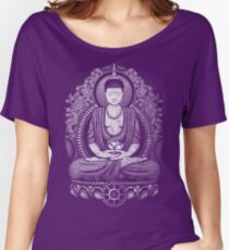 Gautama Buddha White Halftone Distressed Women's Relaxed Fit T-Shirt