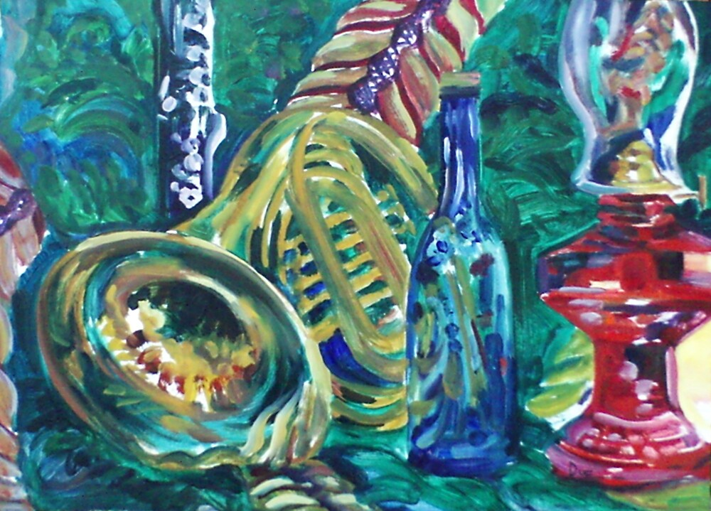 French Horn Still Life (Oils)- by Robert Dye
