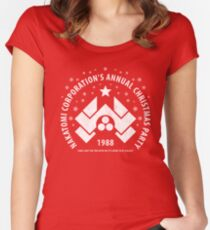 Nakatomi Corporation's Annual Christmas Party 1988 (aged look) Women's Fitted Scoop T-Shirt