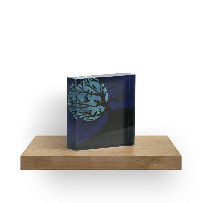 'Spooky Raven Tree' Acrylic Block