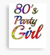 80s Party Girl | Colorful Retro 1980s Canvas Print