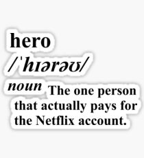 Netflix Hero Dictionary Meaning Sticker