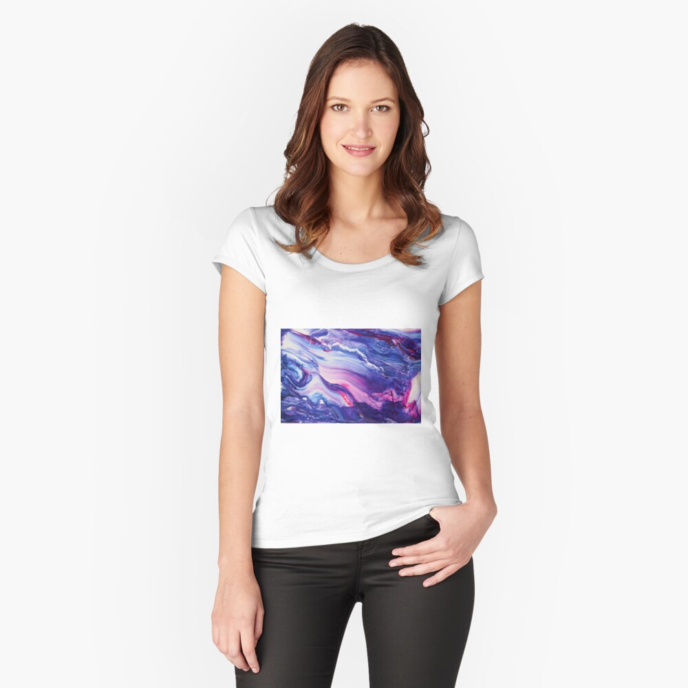 Tranquil Swirls Hybrid Painting Fitted Scoop T-Shirt