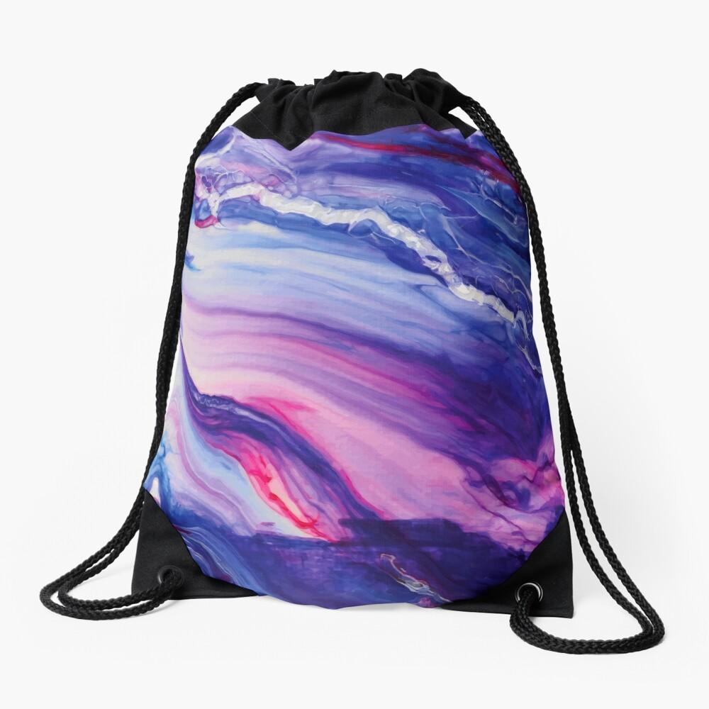 Tranquil Swirls Hybrid Painting Drawstring Bag