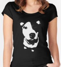 Louie - Black and white pit bull Women's Fitted Scoop T-Shirt