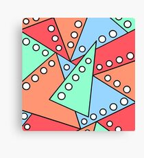Triangles Dots Doodle - Red Blue Green Canvas Print