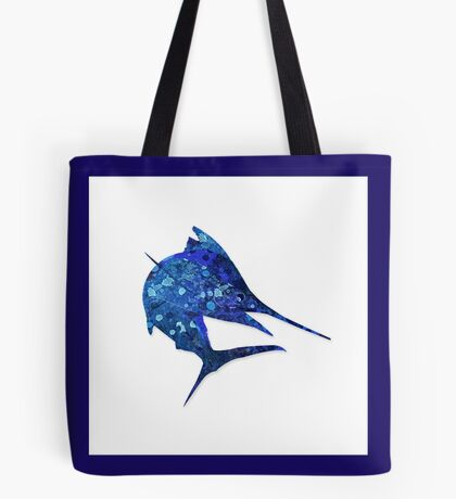 Mosaic Marlin / Watercolour Effect (Print) Tote Bag