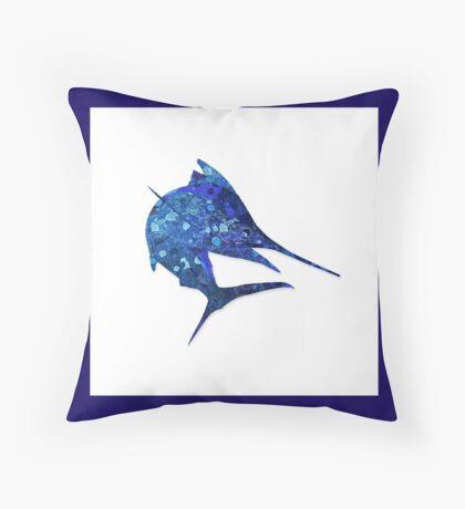 Mosaic Marlin / Watercolour Effect (Print) Throw Pillow