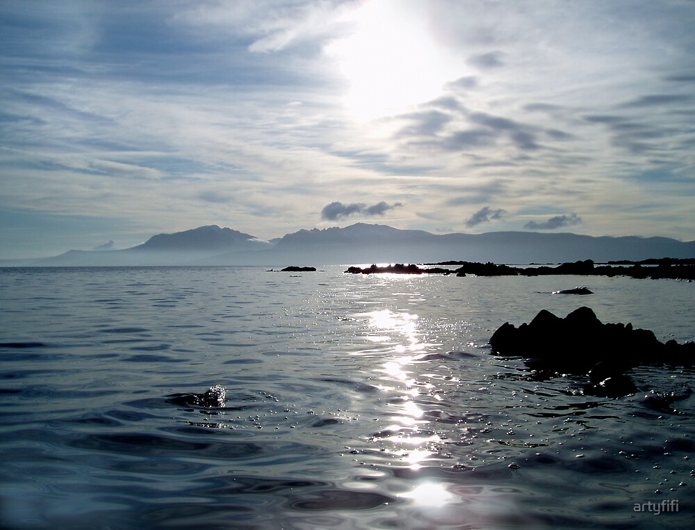 Light dancing over the sea from Arran by artyfifi