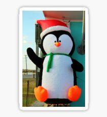 Pegatina Pingüino en un sombrero de Santa