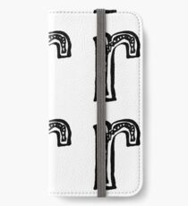Lower case black and white alphabet letter R  iPhone Wallet/Case/Skin