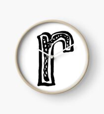 Lower case black and white alphabet letter R  Clock