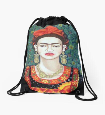 Frida, queen of Hearts Drawstring Bag