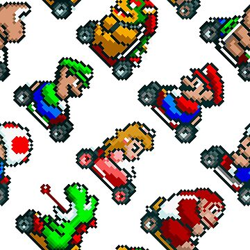Super Mario Kart / 8 characters pattern / blue sky / large by danteartist