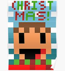 Pixel Scarf Person Christmas Poster Poster