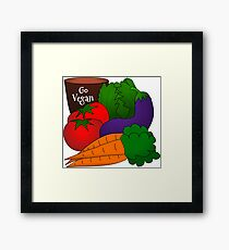 Go Vegan Bright Graphic Cartoon Drawing of Vegetables Framed Print