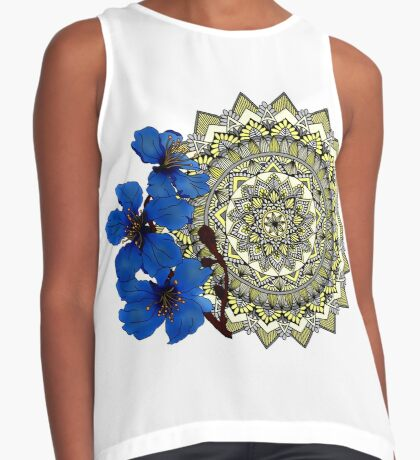 Royal blue magnolia mandala Sleeveless Top