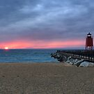 Spring Sunset - Lake Michigan beach by Megan Noble