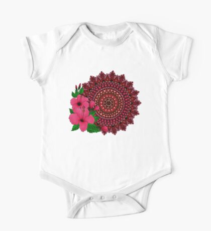 Red Hibiscus Mandala Kids Clothes
