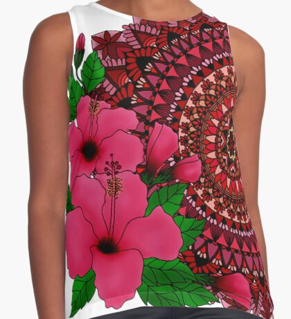 Red Hibiscus Mandala Sleeveless Top