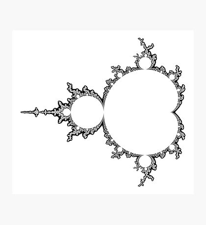 Monochrome Outline Mandelbrot Set Photographic Print