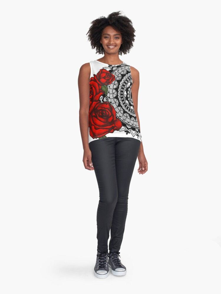 Alternate view of Red rose mandala Sleeveless Top
