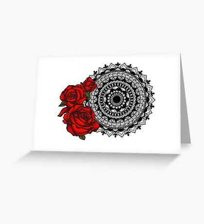 Red rose mandala Greeting Card