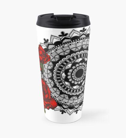 Red rose mandala Travel Mug
