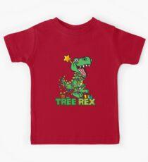 Tree Rex Dinosaur Christmas Design Kids Tee