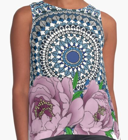 Blue peony mandala Sleeveless Top