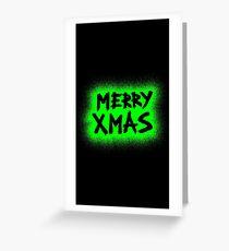 Merry Xmas - Graffiti Green Greeting Card