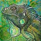 Iguana on Green and Gold by Lynnette Shelley