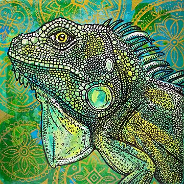 Iguana on Green and Gold by LynnetteShelley