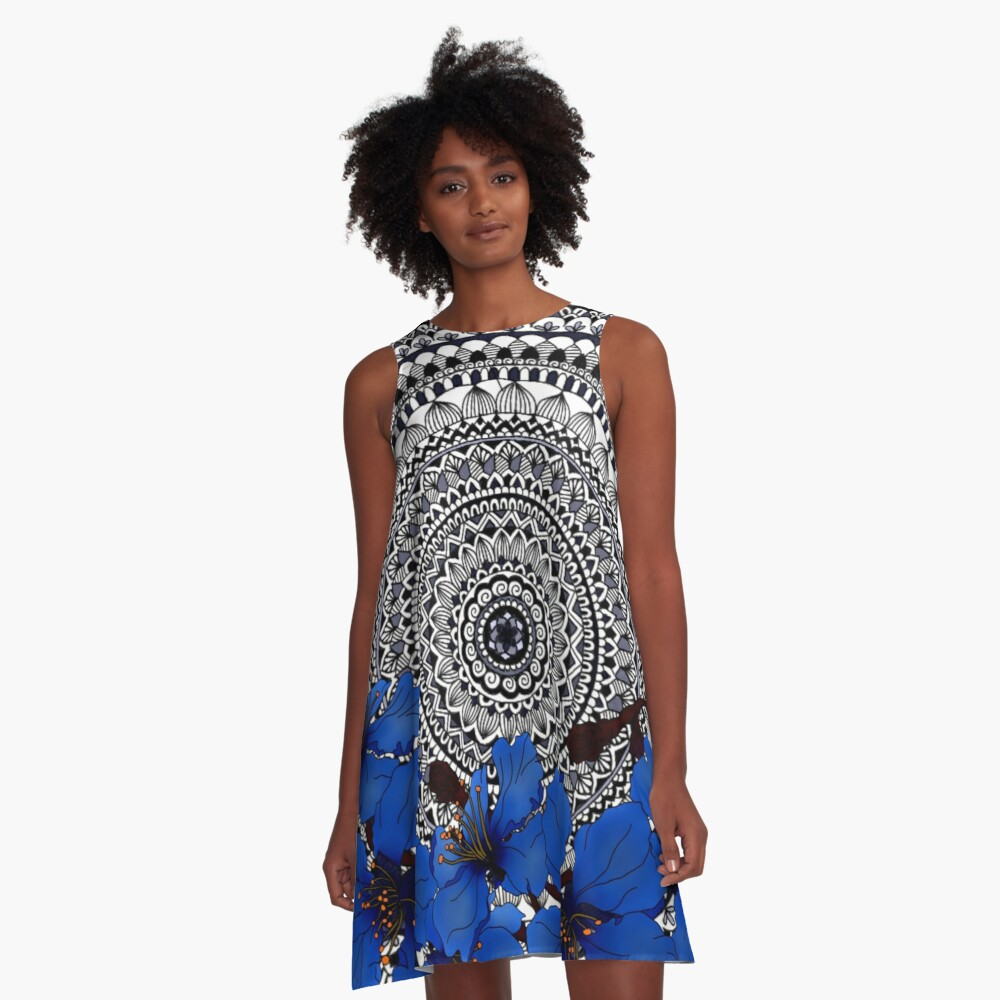 blue magnolia mandala A-Line Dress