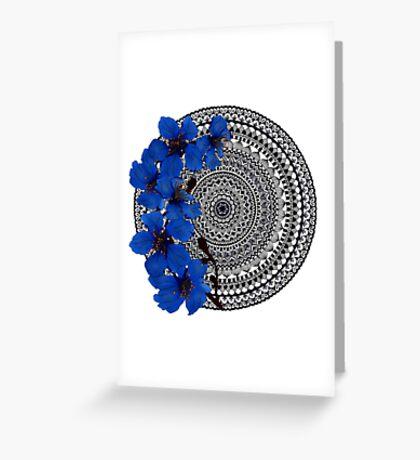 blue magnolia mandala Greeting Card