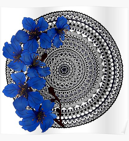 blue magnolia mandala Poster